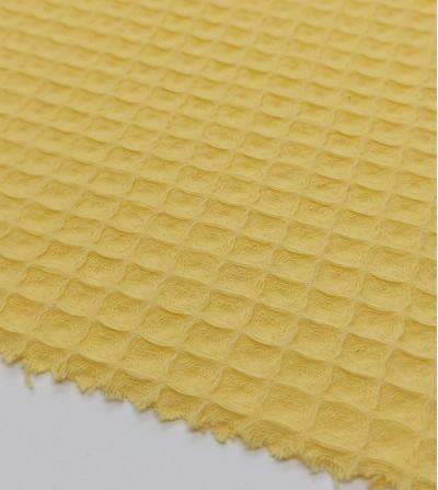 Tela waffle piqué amarillo