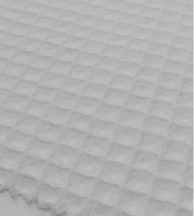 Tela waffle piqué blanco